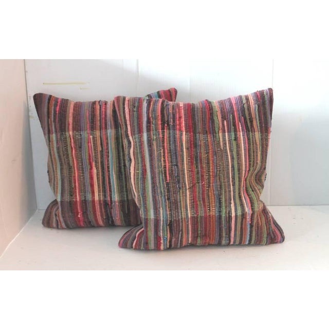 Pair of Multi Colored Rag Rug Pillows - Image 4 of 4