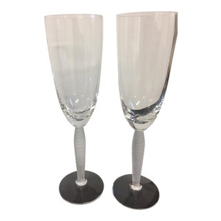 Lalique Louvre Fluted Champagne Glasses - A Pair