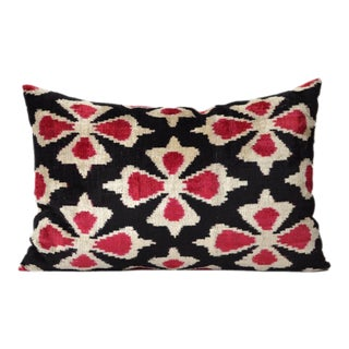 Columbine Ikat Silk Velvet Accent Pillow