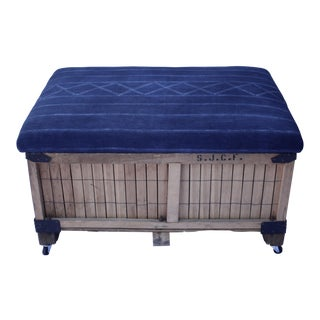 African Indigo Upholstered Storage Ottoman