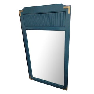 Teal Lacquered Mirror with Brass Trim