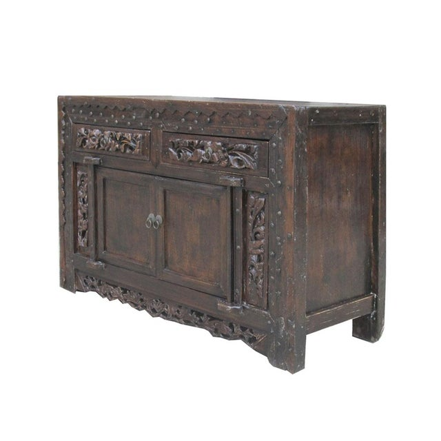 Vintage chinese carved lacquered cabinet console chairish for Asian console cabinet