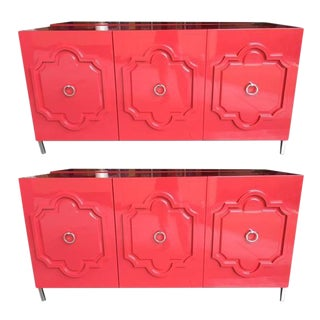 ModShop Modern Moroccan Red Lacquer Credenzas - A Pair