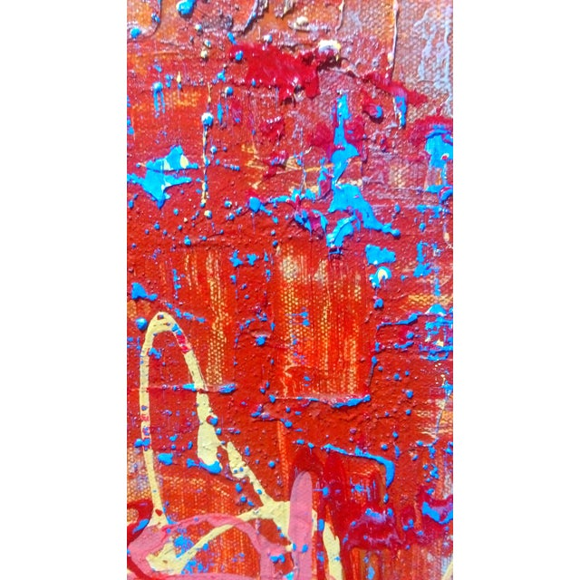 Abstract Expression Drip Action Cityscape Oil Painting - Image 3 of 9