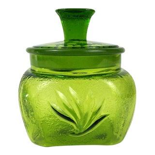 Textured Green Glass Candy Jar