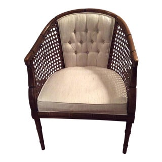 Tufted Upholstered Cane Chair