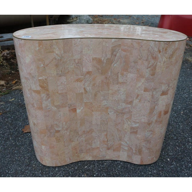 Maitland-Smith Tessellated Pink Marble Kidney Side Table - Image 4 of 6