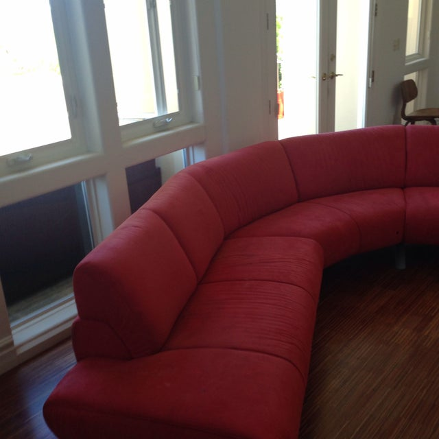 Curved Sofa Atlanta: Modern Red Microfiber Curved Sofa