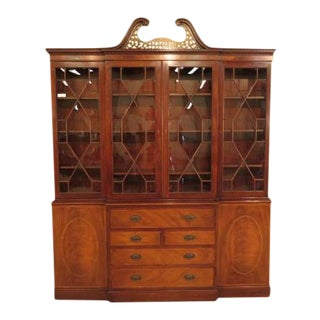 English Style Baker Mahogany Breakfront Bookcase