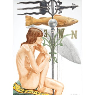 "Philip Pearlstein ""Nude Model With Banner and Fish Weathervanes"" Lithograph"