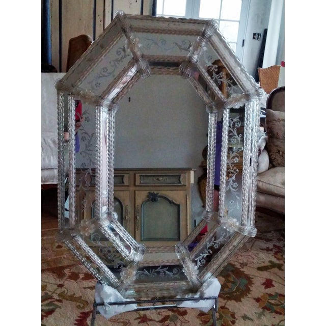 Large Vintage Venetian Etched Octagonal Wall Mirror - Image 6 of 6