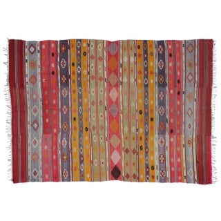 "Vintage Turkish Tribal Kilim With Boho Chic Style & Pink, Red & Purple Stripes - 5'7"" X 7'10"""