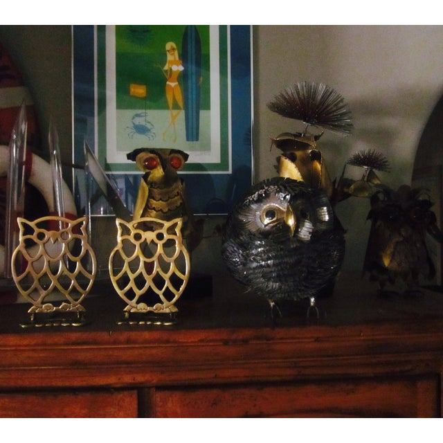 Image of Vintage Brass Owl Bookends - A Pair