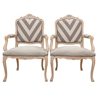 Greek Key Rocaille Fauteuils - A Pair