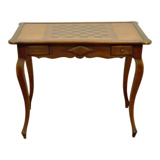 Vintage French Country Style 2 Drawer Scallop Edge Game Table