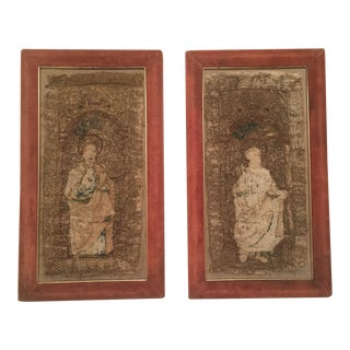 French Renaissance Framed Embroidery Pictures - A Pair