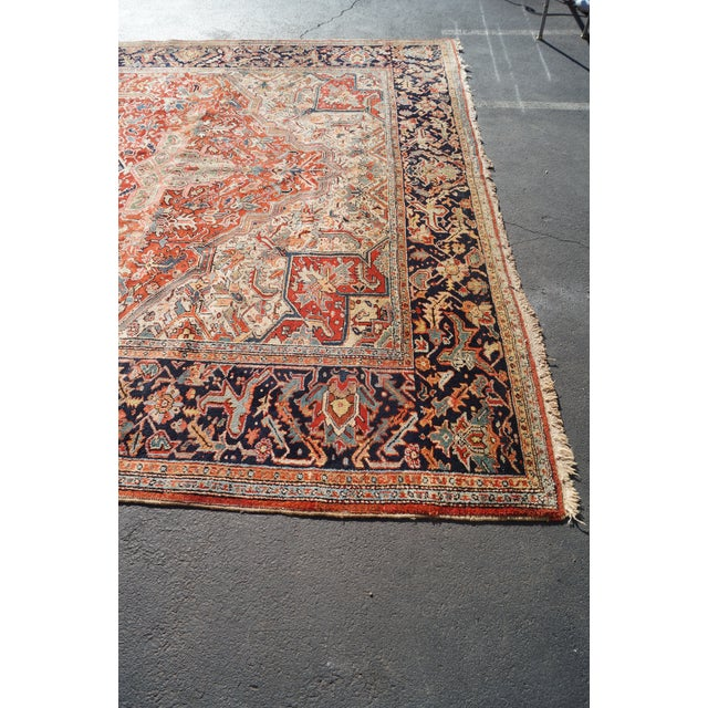 Antique Hand Woven Persian Heriz Rug - 11′6″ × 16′8″ - Image 8 of 10