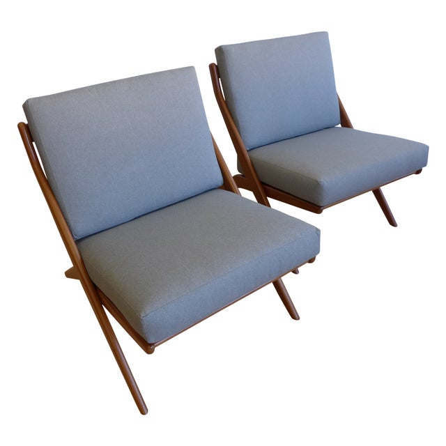 Folk Ohlsson Scandinavian Scissor Lounge Chairs - Image 1 of 10