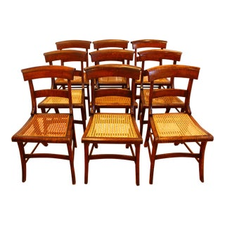 Antique Cane Seat Dining Chairs - Set of 9