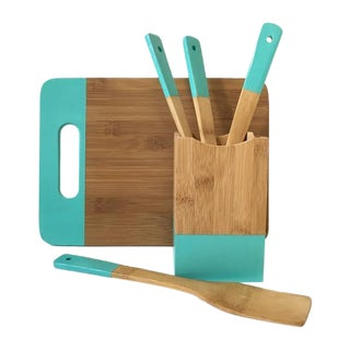 Teal Kitchen Set - Cutting Board, Utensils, Cube