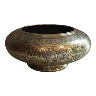 Etched Floral Brass Bowl