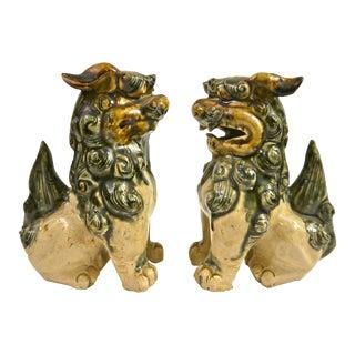Hand Sculpted Drip Glaze Foo Dogs - A Pair