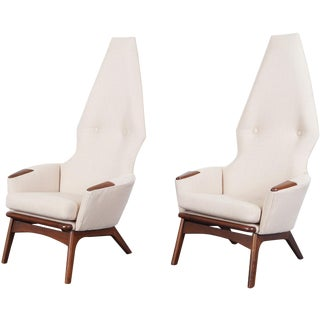 Vintage Adrian Pearsall High Back Lounge Chairs - a Pair