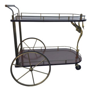 Vintage Brass and Wood Grain Bar Cart With Swan