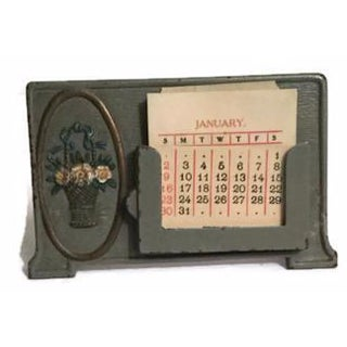 Antique Iron Perennial Calendar Business Card Holder
