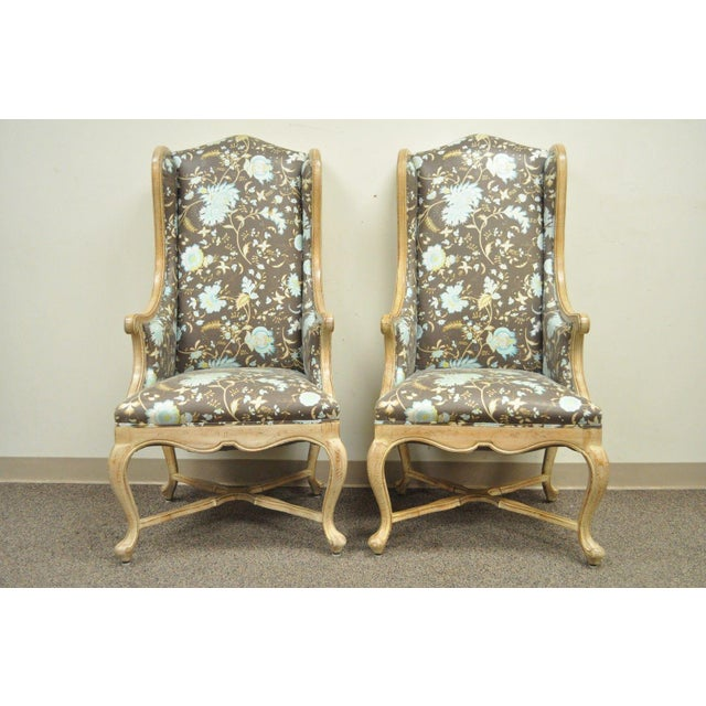 Hollywood Regency French Country Carved Wingback Chairs - A Pair - Image 3 of 11