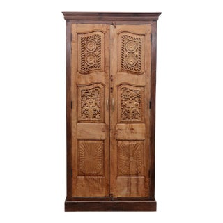 vintage floral carved front armoire antique english pine armoire