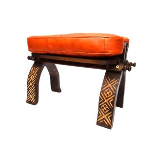 Orange Moroccan Leather Footstool