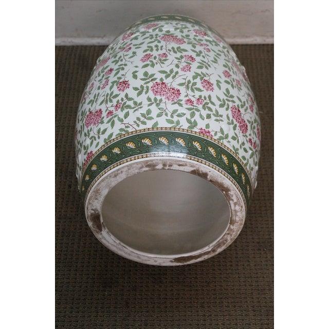 Vintage Floral Pattern Pottery Garden Seat - Image 2 of 10