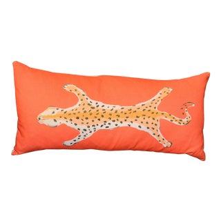 Dana Gibson Orange Leopard Bolster Pillow