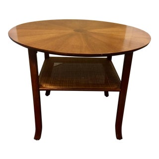 Round Oak Mid-Century Side Table