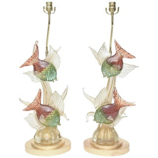 Pair of Rare Italian Murano Barovier e Toso Glass Lamps