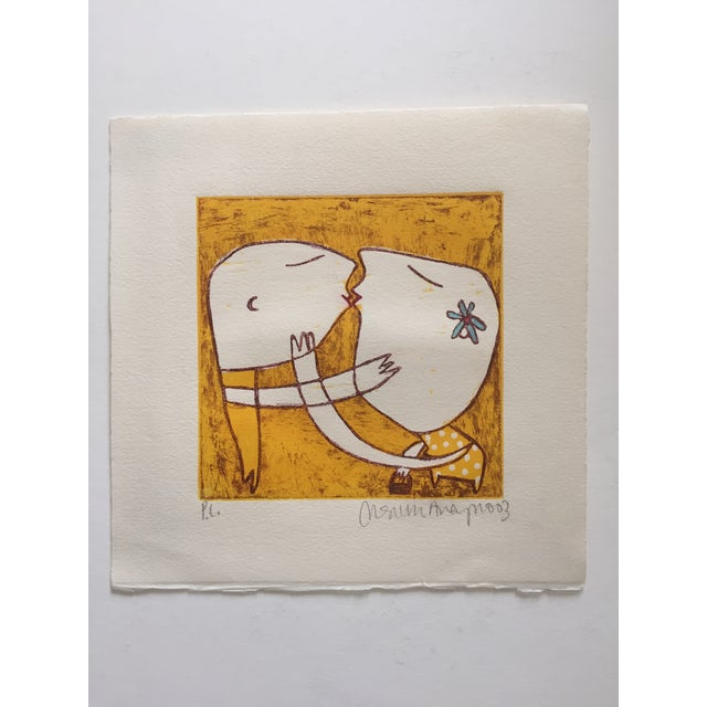 Original Yellow Monoprint by Marina Anaya - Image 6 of 10