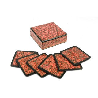 Hand Painted Rouge Kashmiri Coaster Box - Set of 6