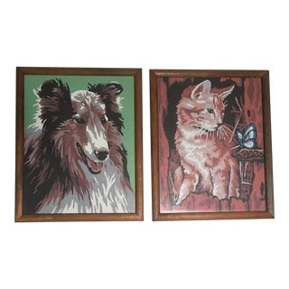 Vintage Framed Dog & Cat Paint by Number Paintings- A Pair