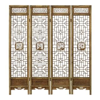 Chinese Flower Birds Carving Window Pattern Wood Panel Floor Screen
