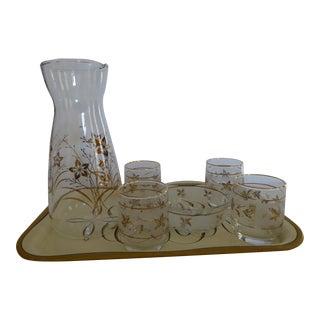 Mid-Century Gold Carafe & Glasses - Set of 7