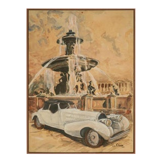 C.1946 Original Watercolor of a Bugatti Royale by Pierre Clairin