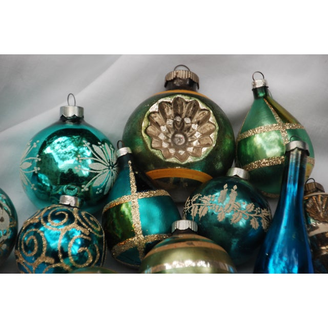 Vintage Blue and Green Glass Ornaments - Set of 11 - Image 3 of 10