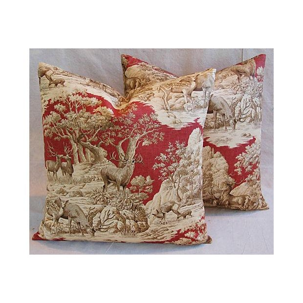 Designer French Woodland Deer Toile Pillows - Pair - Image 5 of 8