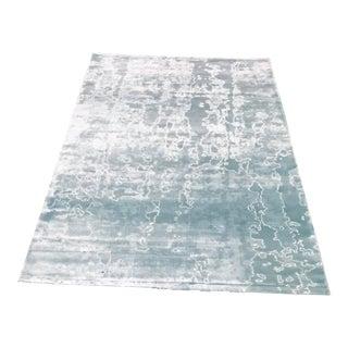 "Contemporary Aqua Abstract Rug - 60"" x 96"""