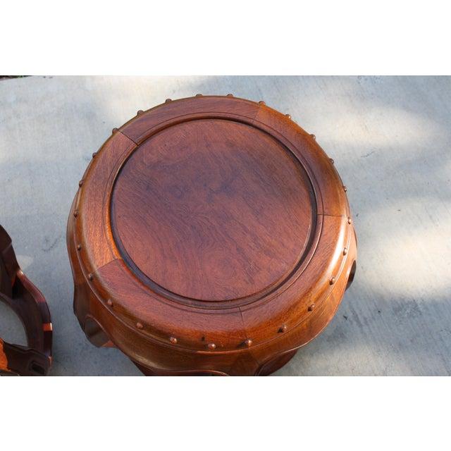 Vintage Asian Rosewood Drum Stools - A Pair - Image 8 of 11