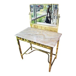 French Brass and Onyx Vanity