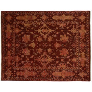 Transitional Indian Rug in Maroon - 7′11″ × 10′