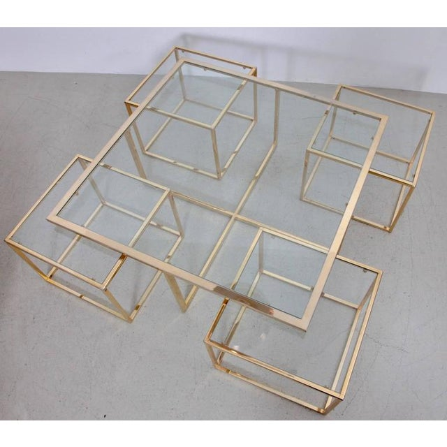 Huge Coffee Table in Brass with Four Nesting Tables by Maison Charles - Image 5 of 6