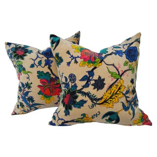 Cream Velvet Floral Pillows - A Pair